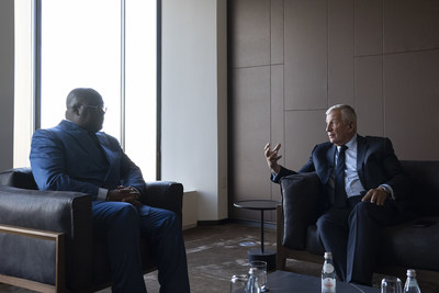 FII Institute CEO Richard Attias (right) speaks with Democratic Republic of the Congo President Félix-Antoine Tshisekedi Tshilombo about global collaboration on vaccine development at the FII Institute Health is Wealth roundtable in New York today, September 21.