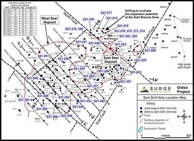 Figure 1. Plan map of drill hole locations for 2021 Ootsa summer drill program.